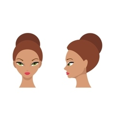 Female face front and side vector