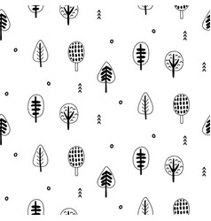 forest trees scandinavian seamless pattern vector image