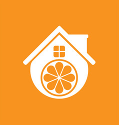 fruit house logo template design and support icon vector image