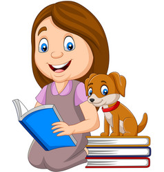 girl reading book with cute little dog vector image