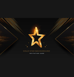 golden 3d star on black modern background vector image
