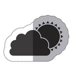 gray silhouette sticker of cloud with sun vector image