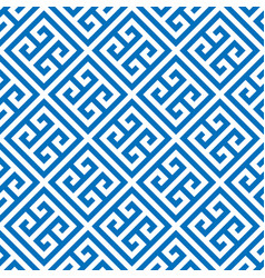 Greek key seamless pattern background in blue and vector