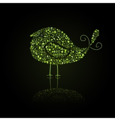 Green Bird Silhouette Composed from Go Green Eco vector