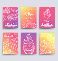 hand drawn dessert and bakery banners vector image