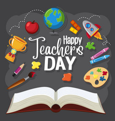 happy teachers day sign with set stationary vector image