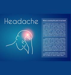 headache linear young man vector image