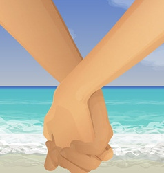 holding hands beach vector image