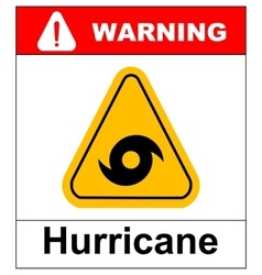 Hurricane Warning Sign vector image