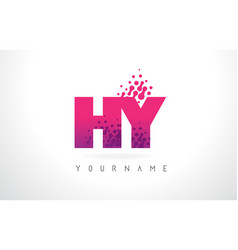 Hy h y letter logo with pink purple color and vector