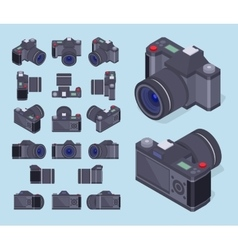 Isometric photo cameras vector