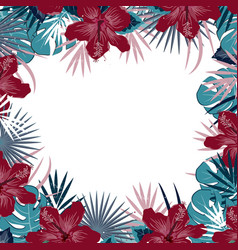 Jungle party background with hibiscus flowers vector