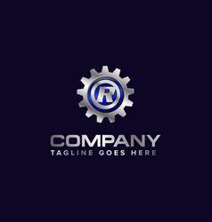 Letter r gear template logo this design vector