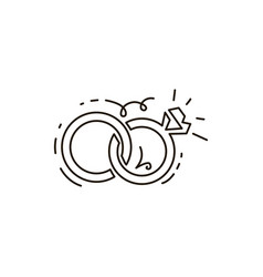 Line icon two rings together wedding vector