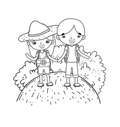 little tourist kids couple in landscape scene vector image