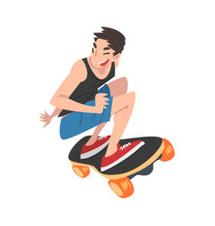 male skateboarder performing trick boy jumping on vector image