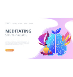 Meditating and self-consciousness concept landing vector
