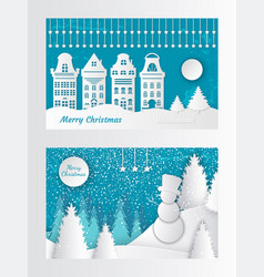 Merry christmas paper cut card house buildings vector