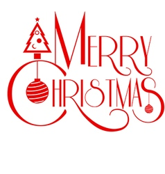 Merry christmas text art red color use vector