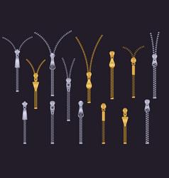 metal zipper plastic metallic zip gold silver vector image