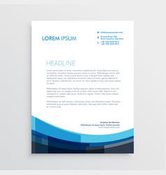 modern creative blue letterhead template design vector image