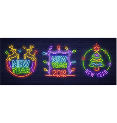 Neon logo label new year and merry christmas vector