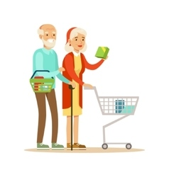Old Couple With Cart Shopping In Department Store vector
