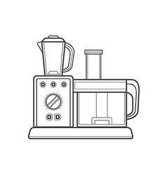 Outline kitchen food processor vector