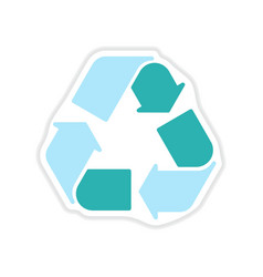 Paper sticker on white background arrows recycling vector