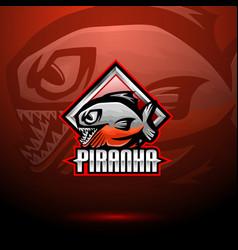 Piranha esport mascot logo design vector