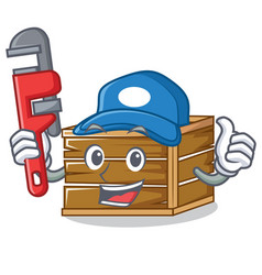 Plumber crate mascot cartoon style vector
