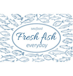 poster hand drawn fish vector image