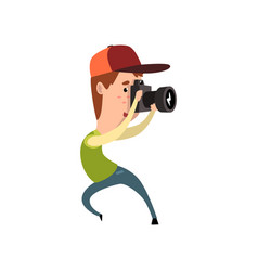 Professional male photographer paparazzi with vector