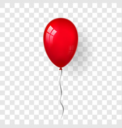 Red balloon 3d thread isolated white transparent vector