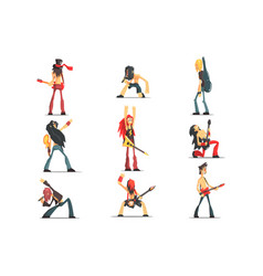 Rock band members funny characters set of graphic vector