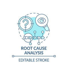 Root cause analysis blue concept icon vector