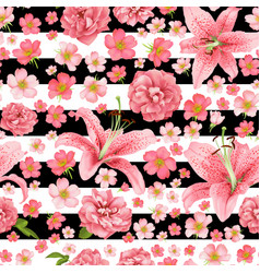 Rose and lily seamless pattern card vector
