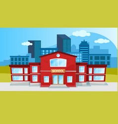 School building two-story red construction cartoon vector