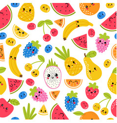 seamless pattern with funny and happy kawaii vector image