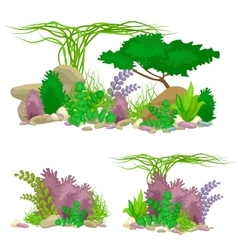 Set isolated colorful corals and algae vector