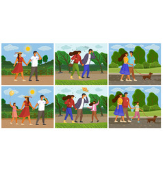 spending time with family in park seasons vector image