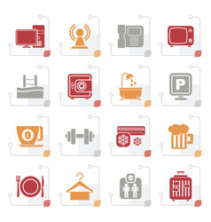 Stylized hotel amenities services icons vector