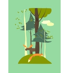 Summer landscape with trees fox and elk vector image