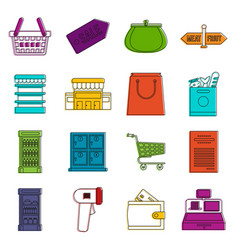 Supermarket icons doodle set vector