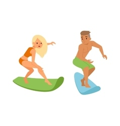 Surfing people boy vector image