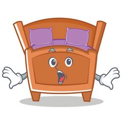 Surprised cute bed character cartoon vector