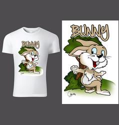 T-shirt design with cartoon bunny vector