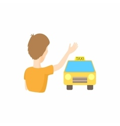 Taxi car and passenger waving icon cartoon style vector