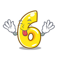 tongue out number six isolated on the mascot vector image