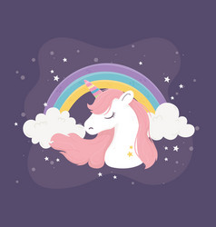 Unicorn rainbow clouds stars fantasy magic dream vector